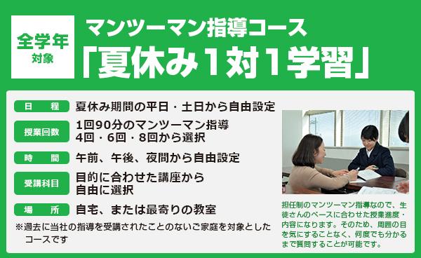 マンツーマン指導コース「夏休み1対1学習」